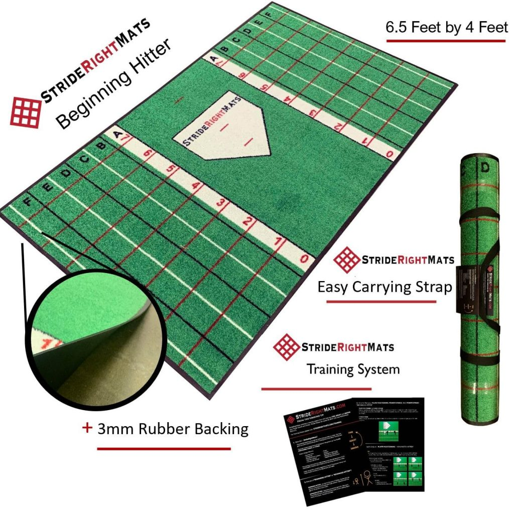 Baseball Softball Hitting Batting Mat | Dual Purpose Instructional Setup, Stance, Stride & Swing Training & Batting Mat | Youth Batter | Stride Right Mats