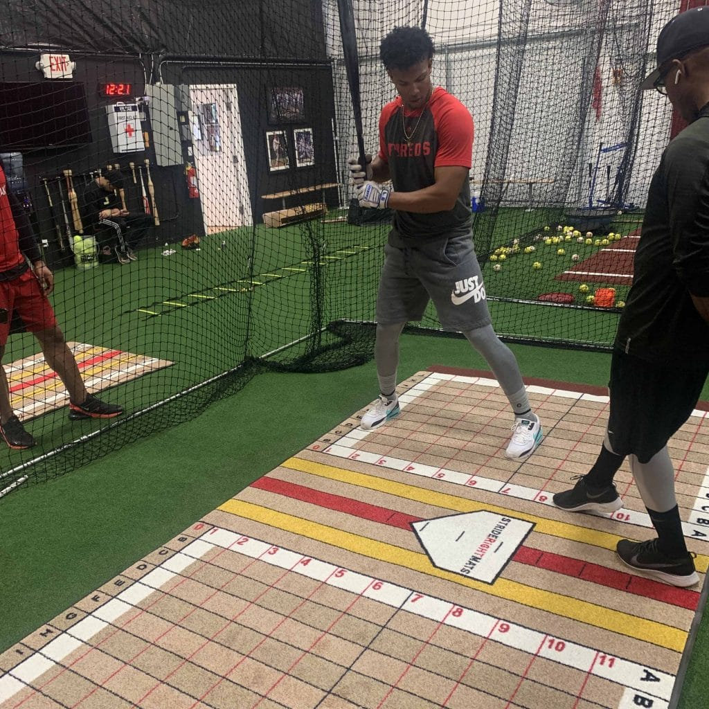 Cincinnati Reds Player on Batting Trainer from Stride Right Mats