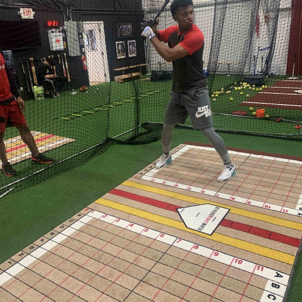 Cincinnati Reds Player on Stride Right Mats Elite Hitter