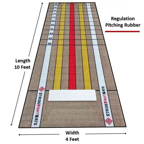 Baseball/Softball Dual Purpose Instructional Pitching Mat | Mound Overlay Stance & Stride Throwing Trainer with Power Lanes & Pitching Rubber | Advanced Pitcher | Stride Right Mats Baseball/Softball Hitting & Batting Mat | Dual Purpose Instructional Stance & Stride Training Batting Mat | Full Single Batters Box Flippable for Lefties & Righties | Stride Right Mats