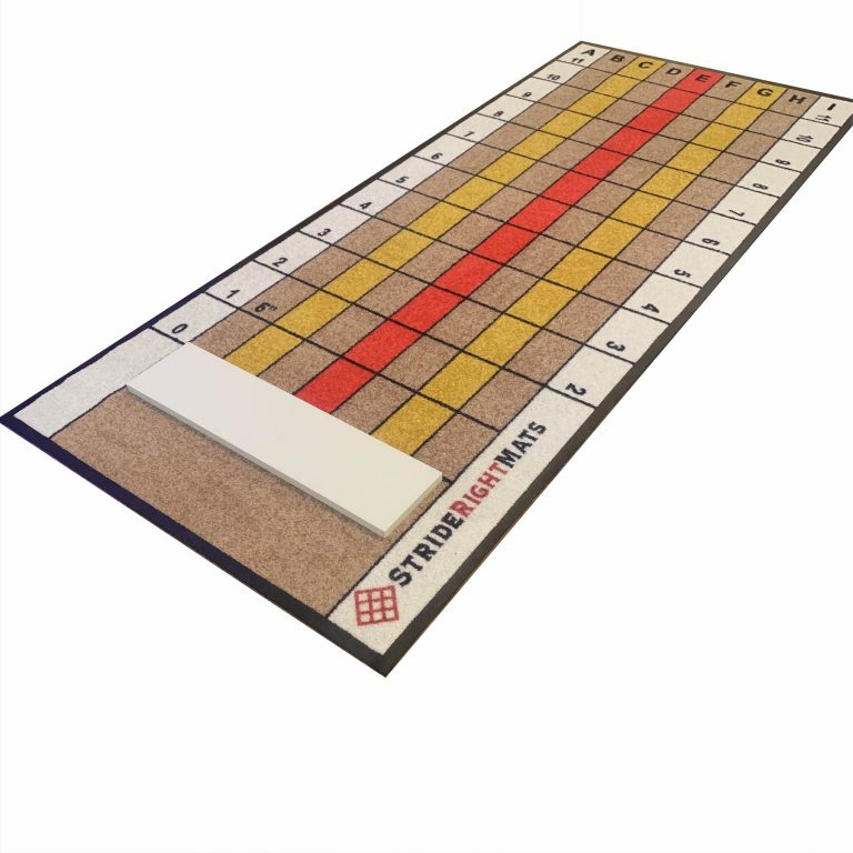 Baseball/Softball Dual Purpose Instructional Pitching Mat | Mound Overlay Stance & Stride Throwing Trainer with Power Lanes & Pitching Rubber | Beginning Pitcher | Stride Right Mat